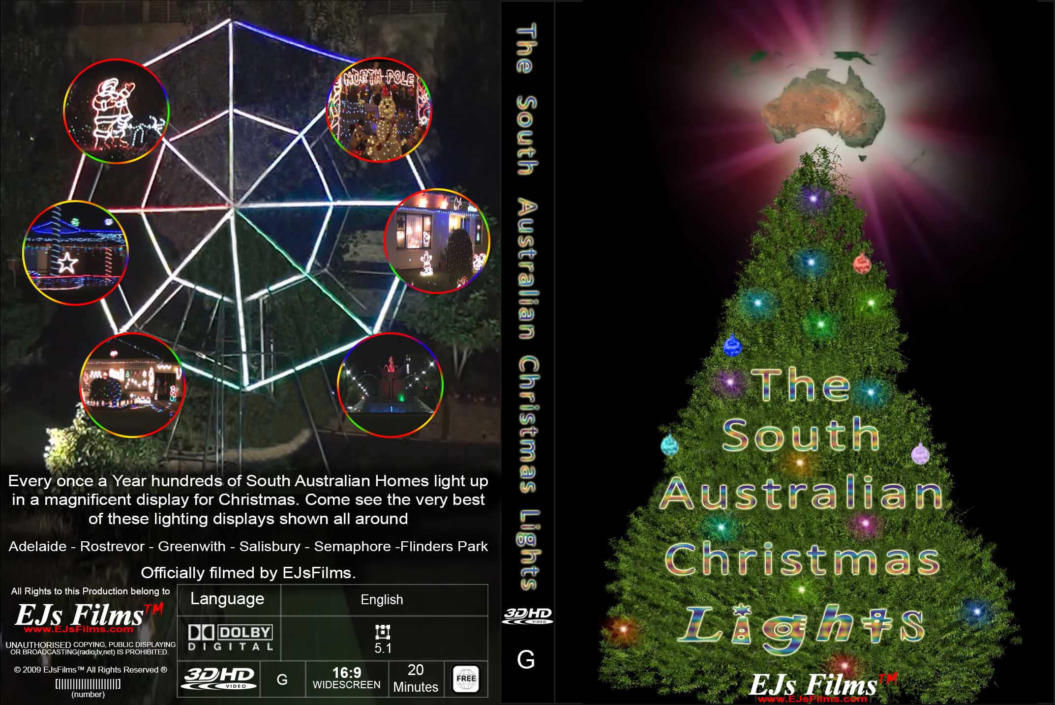 The South Australian Christmas Lights (3D) | G | Documentary | 2014 | by EJsFilms.com -